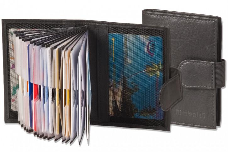 Rimbaldi® XXL-Kreditkartenetui mit 20 Kartenfächern aus weichem, naturbelassenem Rindsleder in Schwarz