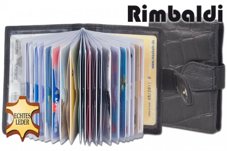 Rimbaldi® XXL-Kreditkartenetui mit 22 Kartenfächern aus weichem, naturbelassenem Rindsleder mit Krokoprägung in Schwarz