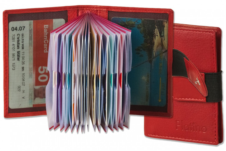 Platino - XXL credit card holder with 18 card compartments made of soft, natural cowhide leather in cherry