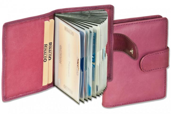 Rinaldo® XXL-Kreditkartenetui für insgesamt 19 Kreditkarten aus weichem, naturbelassenem Rindsleder in Lila