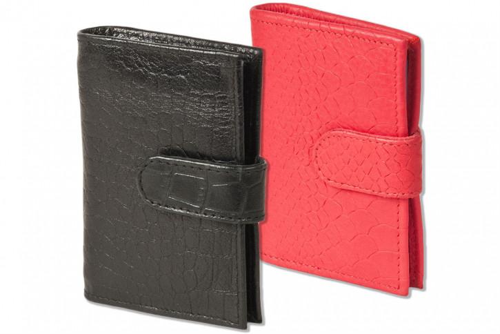 Rimbaldi® XXL-Kreditkartenetui mit 22 Kartenfächern aus weichem, naturbelassenem Rindsleder mit Krokoprägung