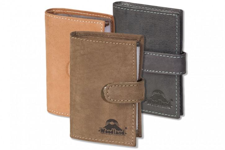 Woodland® XXL-Kreditkartenetui mit 19 Kartenfächern aus weichem, naturbelassenem Büffelleder