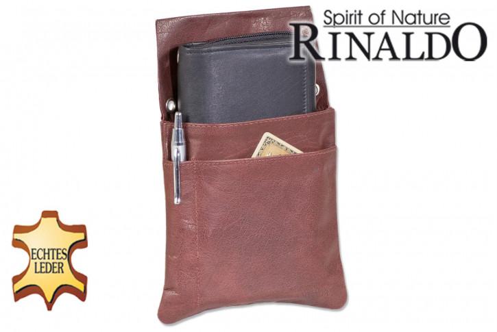 Rinaldo® Robustes Kellner-Holster aus naturbelassenem Büffelleder in Dunkelbraun