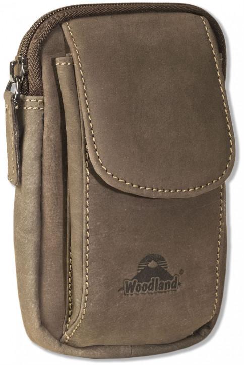 Woodland® Gürteltasche mit Smartphonefach aus naturbelassenem Büffelleder in Dunkelbraun/Taupe
