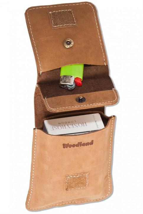 Woodland® Zigarettenschachtel-Etui aus naturbelassenem Büffelleder in Cognac