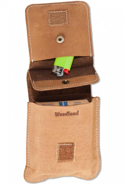 Woodland® Zigaretteneschachtel-Etui aus naturbelassenem Büffelleder in Cognac