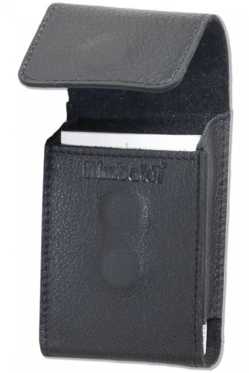 Rimbaldi® Zigarettenschachtel-Etui aus naturbelassenem Rind-Nappaleder in Schwarz