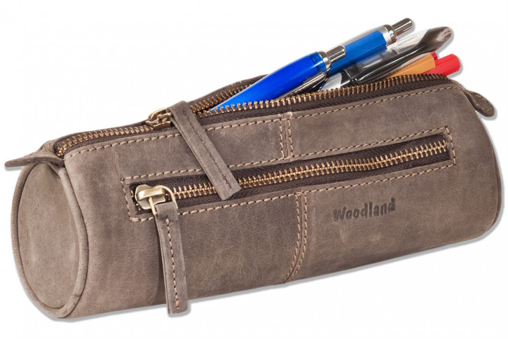 Woodland® Pens-roll of soft, untreated buff leather in dark-brown/taupe