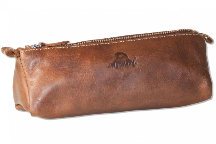 Woodland® Schreibgerätetasche aus hochwertigem OIL PULL-UP Büffelleder in Braun