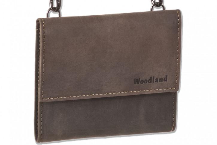 Woodland® Geldbörse/Brustbeutel aus weichem, naturbelassenem Büffelleder in Dunkelbraun/Taupe
