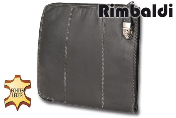 Rimbaldi® Große Universal Dokumentenmappe mit schönem Metallschloss umd aus weichem Rind-Nappaleder in Schwarz