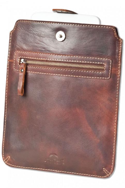 Woodland® Hochwertige Ledertasche für Tablets aus geöltem Büffelleder im Vintage-Look/Braun