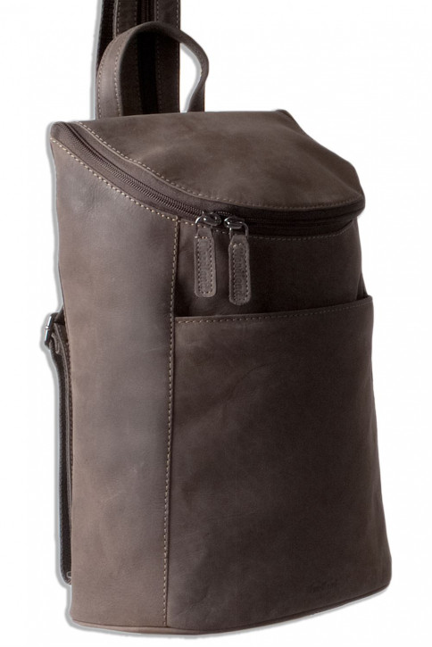 Woodland® Backpack in soft, natural buffalo leather in dark brown / taupe