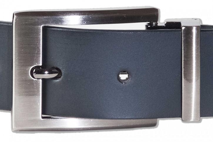 Rimbaldi® Voll-Ledergürtel mit massiver Metallschnalle/Hartvernickelt aus glattem Büffelleder matt/schwarz