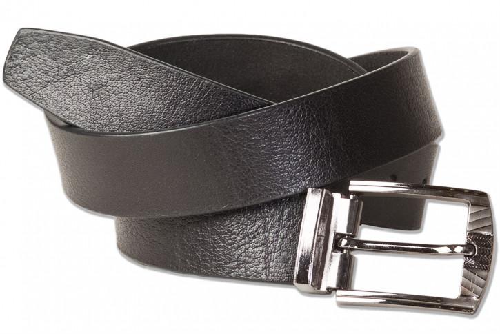 Rimbaldi® Voll-Ledergürtel mit masssiver Metallschnalle, glattes Büffelleder - matt/schwarz
