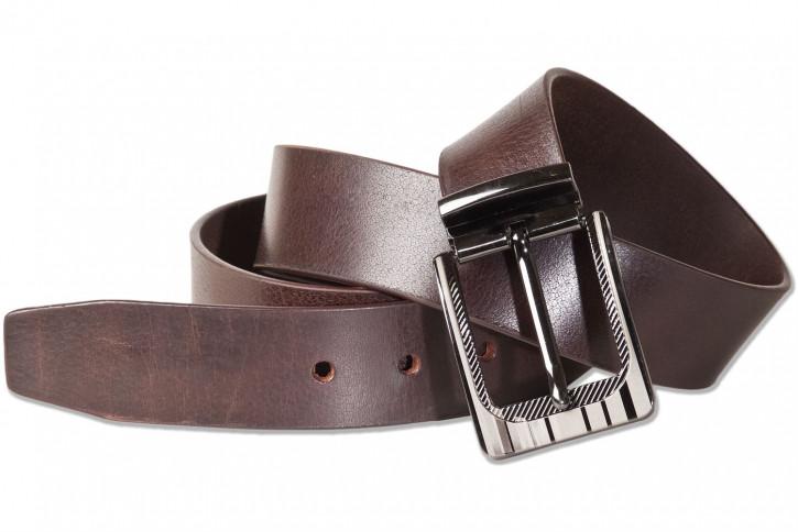 Rimbaldi®  Jeans Voll-Ledergürtel mit masssiver Metallschnalle aus Büffelleder mit natürlicher Oberfläche in Dunkelbraun