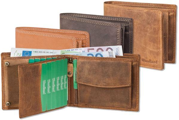 Woodland® Querformatbörse mit Platz für 11 Kreditkarten aus naturbelassenem, weichem Büffelleder