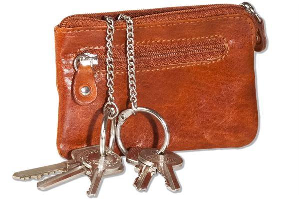 Woodstone® Doppel-Schlüsseltasche mit großem Extrafach für den Autoschlüssel aus OIL PULL-UP Büffelleder in Cognac