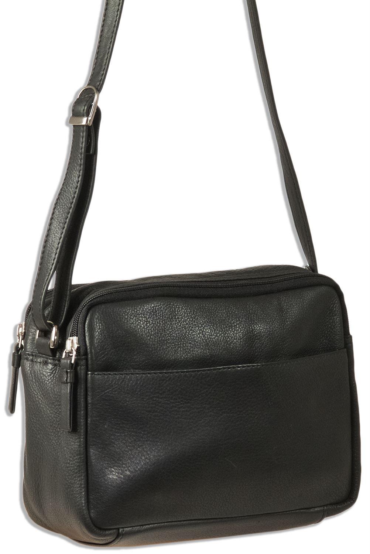 Platino Damen Handtasche aus weichem Nappaleder Rinderleder in Schwarz