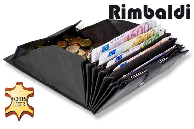Rimbaldi® Kellnerbörse mit besonders vielen Fächern, geeignet für mehrere Währungen aus weichem, naturbelassenem Rindsleder