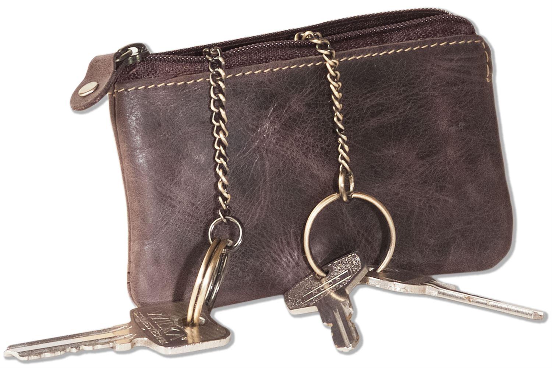 Leder Schlüsseltasche mit 2 Schlüsselketten in Dunkelbraun Wild Nature® Wild