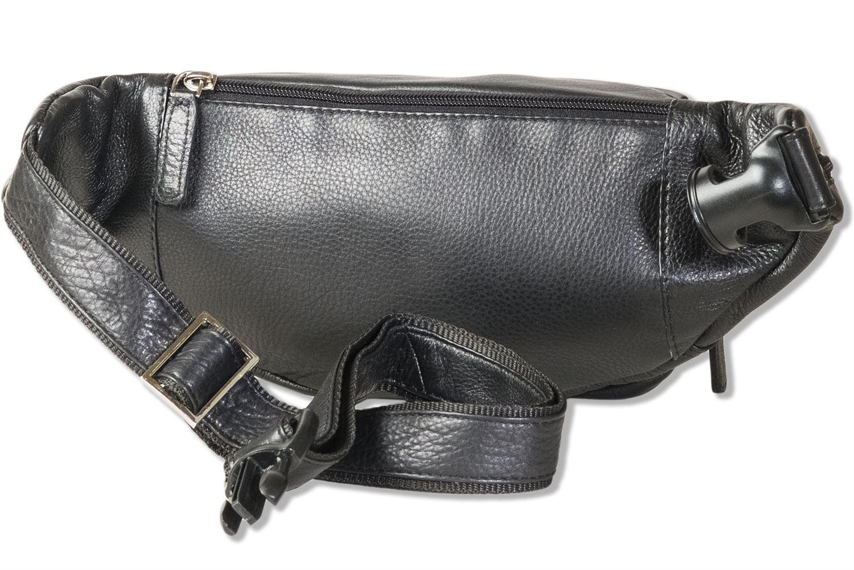 Rimbaldi® Bauchtasche mit viel Platz aus weichem Nappa Leder in Schwarz