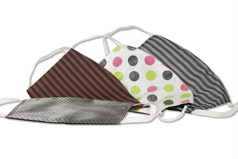 4er Set - Komfort-Alltagsmasken aus hochwertigem Material und mit besonders elastischen Gummischlaufen - 4 verschiedene Designs