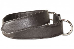 Rimbaldi® Full leather dog collar for medium-size dogs with 45-55 cm neck circumference in dark-brown
