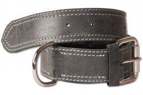 Woodland® Full buff-leather dog collar for medium-size dogs with 50-65 cm neck circumference in antracite