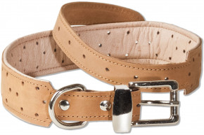 Woodland® Full buff-leather dog collar for medium-size dogs with 50-65 cm neck circumference in nature