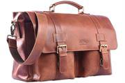 WILD WOODS® - Aktentasche Leder XL mit Laptopfach 15,6 Zoll große Ledertasche zum Umhängen aus Rinderleder in Cognac