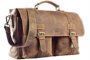WILD WOODS® - Aktentasche Leder XL mit Laptopfach 15,6 Zoll große Ledertasche zum Umhängen aus Büffelleder in Mittelbraun/Vintage