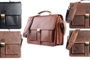 WILD WOODS - Aktentasche Leder XL mit Laptopfach 15,6 Zoll große Ledertasche zum Umhängen aus Rindsleder