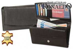 Rinaldo® Damengeldbörse aus Rindsleder in Schwarz, mit vielen Fächern und glatter Oberfläche