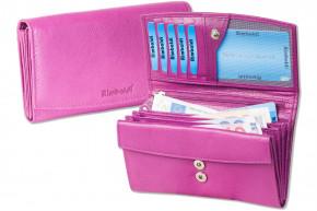 Rimbaldi® Damengeldbörse aus Rindsleder in Lila,  mit vielen Fächern und mit naturbelassener Oberfläche