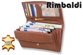 Rimbaldi® Damengeldbörse aus Rindsleder in Dunkelbraun,  mit vielen Fächern und mit naturbelassener Oberfläche