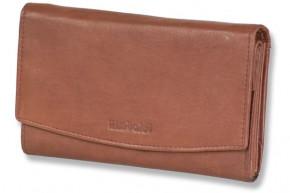 Rimbaldi® - Damengeldbörse mit vielen Fächern und mit naturbelassener Oberfläche aus Rinderleder in Dunkelbraun