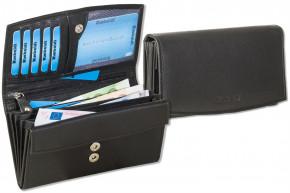 Rimbaldi® Damengeldbörse aus Rindsleder in Schwarz,  mit vielen Fächern und mit naturbelassener Oberfläche