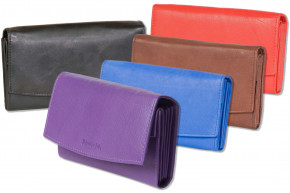 Rimbaldi® Large ladies wallet with many compartments made from red natural, soft cow leather