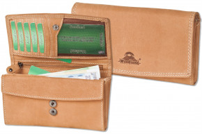 Woodland® Large Luxury Ladies Leather Wallet made from natural, soft buffalo leather in brown