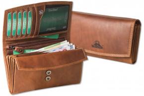Woodland® Große Damenbörse mit dem Protecto® RFID/NFC-Blocker Schutz aus Multicolor Rindsleder in Cognac