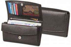 Platino - Große Damengeldbörse in First Class-Qualität mit vielen Fächern und aus feinstem, naturbelassenem Rindsleder in Schwarz