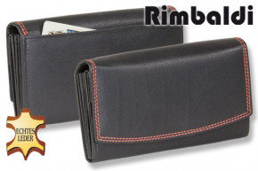 Rimbaldi® - Great luxury women's wallet with many compartments, made from natural cow leather in bla