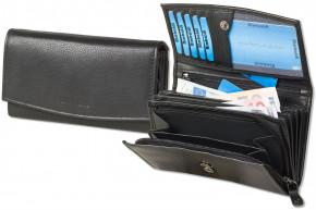 Rimbaldi® Damengeldbörse mit dem Protecto® RFID/NFC-Blocker Schutz, vielen Fächern und aus naturbelassenem Rindsleder in Schwarz
