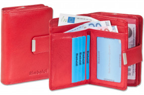 Rimbaldi® - Compact Wallet with extra space from natural cow leather in red