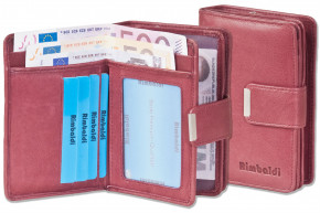 Rimbaldi® Compact Wallet with extra space from natural cow leather in maroon