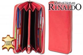 Rinaldo® - Große Damengeldbörse mit umlaufenden Reißverschluss aus naturbelassenem Rinderleder in Rot