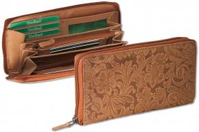 Woodland® Große Luxus-Damenbörse mit besonders vielen Kreditkartenfächer aus naturbelassenem Büffelleder in Braun und Blumenmusteprägung
