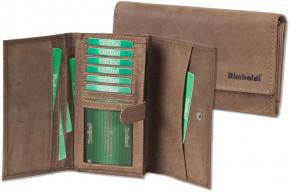 Woodland® Große Luxus-Damengeldbörse mit viel Platz aus weichem, naturbelassenem Büffelleder in Dunkelbraun/Taupe