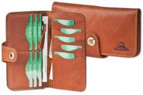Woodland® Moderne Damenbörse aus hochwertigem, naturbelassenem Büffelleder in rustikalen greöltem Büffelelder in Braun/Vintage-Look